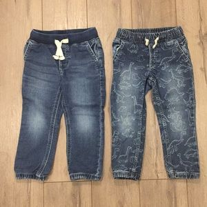 2PC GAP Joggers Jeans Pull-On Graphic Dinosaurs 3T
